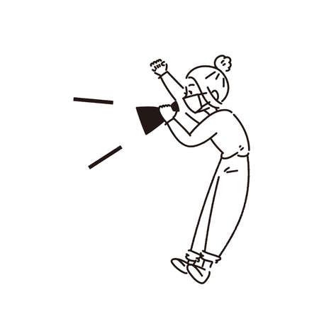 Illustration of a woman wearing a mask and cheering. Vector. It is a line drawing, there is no part that is painted.