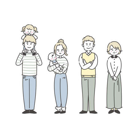It is an illustration that the family is lined up. Vector.