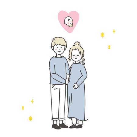 It is an illustration of a couple who seem to have a child and be happy. Vector.