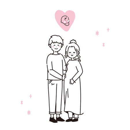 It is an illustration of a couple who seem to have a child and be happy. In the line drawing, there is no fill part. Vector. Vettoriali