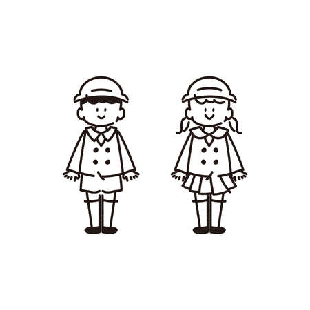 It is an illustration that kindergarten children are lined up. In the line drawing, there is no fill part. Vector.