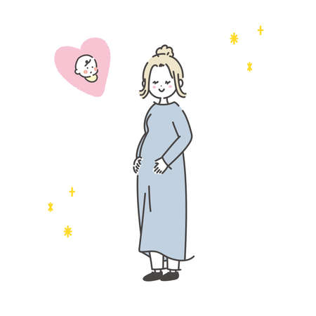 It is an illustration of a happy pregnant woman. Vector.
