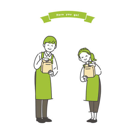Illustration of a male and female clerk handing a paper bag cutely. Vector. Vetores