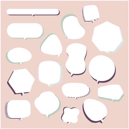 Speech balloons drawn freehand. Design material. Vector.