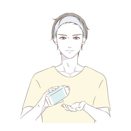 Illustration of a man who cares for skin care. Vector.
