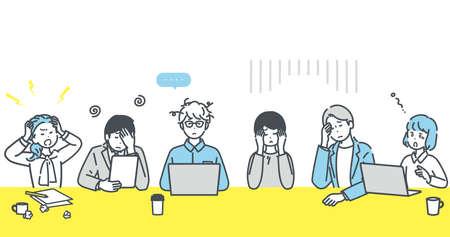 Business person illustrations stuck during meeting. vector. Vector Illustratie