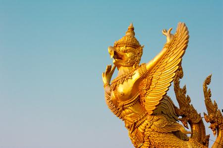 garuda: Gold garuda.  Attractions of Ubon  Ratchathani, Thailand. Stock Photo
