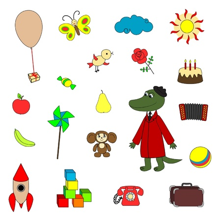 Soviet cartoon characters and their toys Stock Vector - 19938913