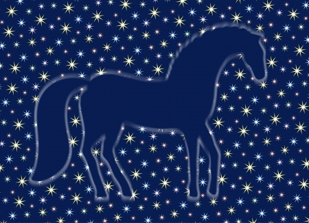 ghostly: a ghostly silhouette of a horse in the starry sky