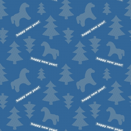 Seamless New-Year blue background with trees and horses Vector