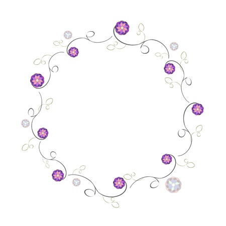 simple round frame of flowers violet and stalk
