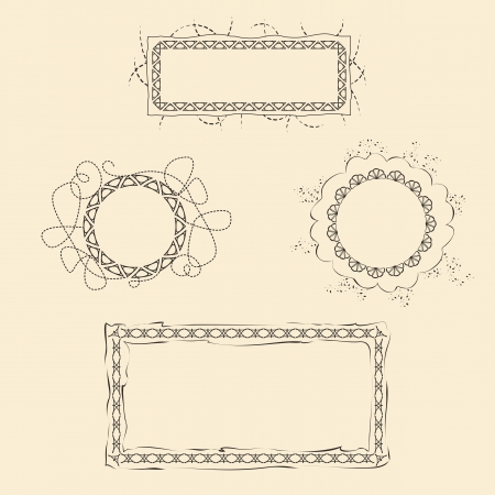 set of four frames for web design and paper