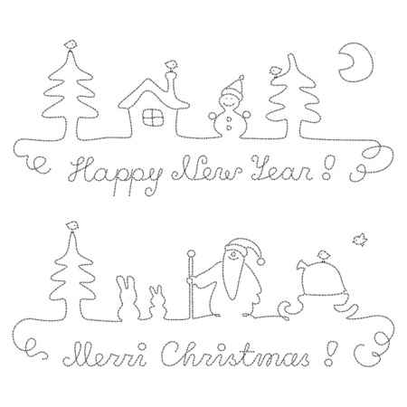 Christmas and New Year - calligraphic dividing lines