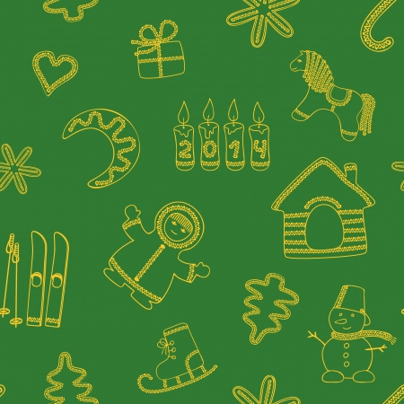 Seamless new years green background - yellow silhouettes Vector