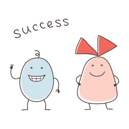 rejoices: happy cartoon couple rejoices their success