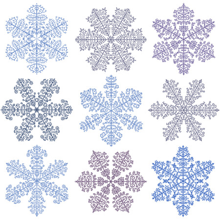A set of blue snowflakes on a white background Vector