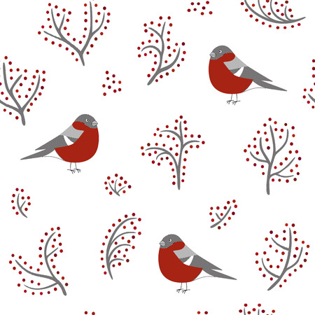 the hatched seamless winter background with bullfinches and branches with berries Vector