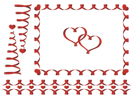 Set of Valentines day design elements: spiral ribbons and hearts Vector