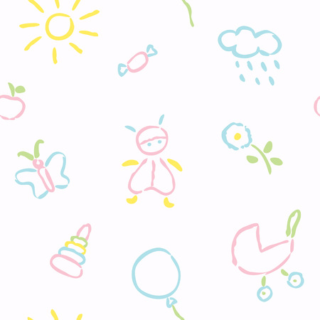 Doodle babies seamless pattern - pastel colours Vector