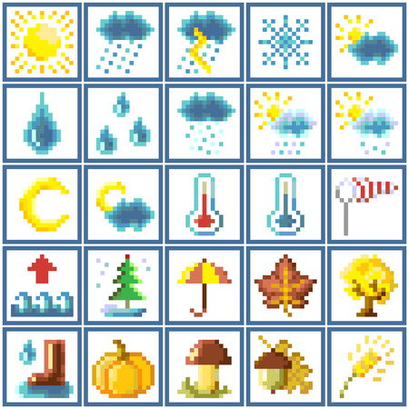 Set of pixel icons: weather and autumn Vector