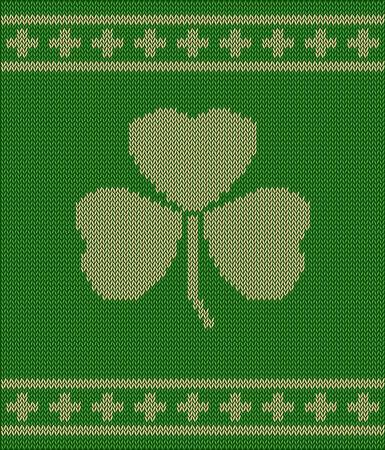 St patricks day symbol - knitted background Vector