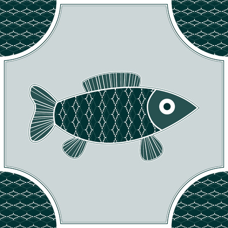 Blue-green Fish isolated in a frame and seamless background Vector