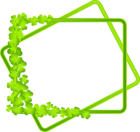 simple background: green frame with clover leaves