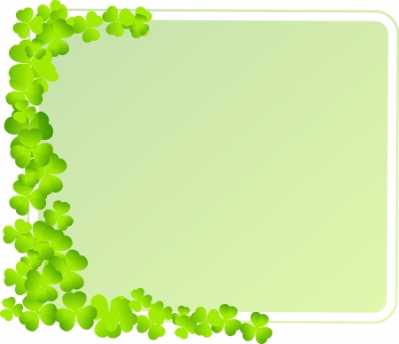green frame with clover leaves