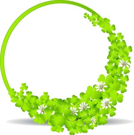 green frame with clover leaves Stock Vector - 18231541