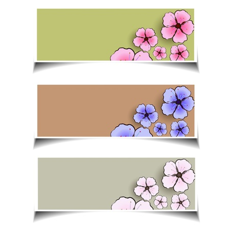 floral  web baners set Stock Vector - 18422761