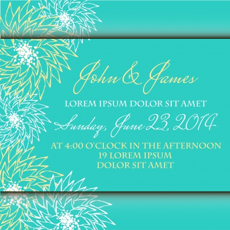 Invitation or wedding card with abstract floral background. Vector