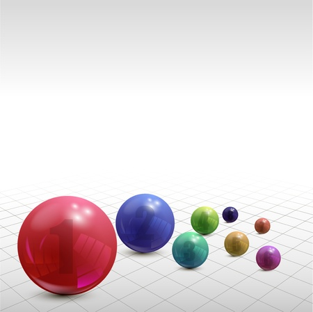 Set of colorful balls on white background, illustration Illustration