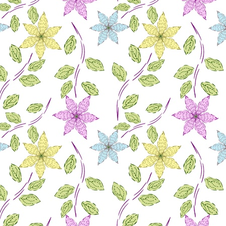 Seamless Vector flower pattern.
