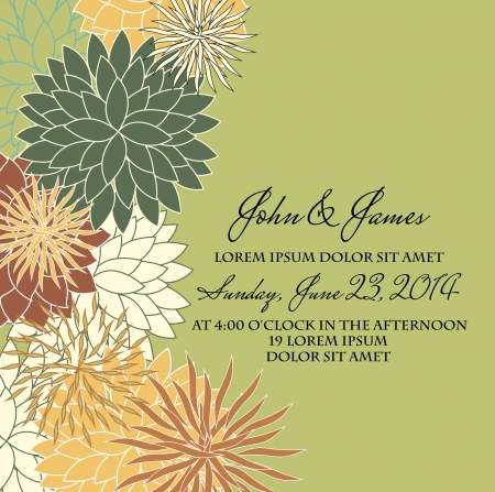 Invitation or wedding card with abstract floral background  Illustration