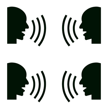 using mouth: person says and ear