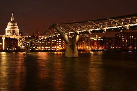 love at first sight: Night Millenium Bridge with nice illumination Stock Photo