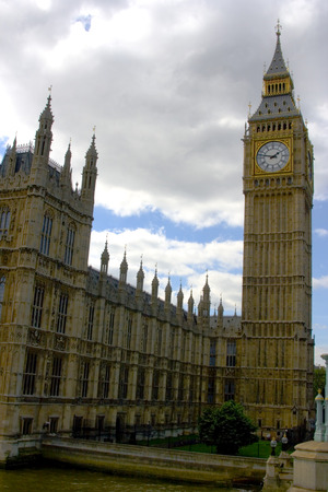 Westminster and Big Ben on cloudy day photo