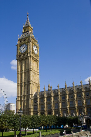 Big Ben and part of London Eye photo