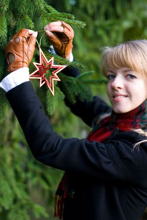 woman hanging toy: Young girl is putting toys on a Christmas Tree