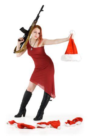 Serial Santa and dwarf's killer girl with a gun Stock Photo - 2249764
