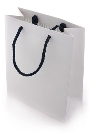 Isol� blanc sac bleu avec poign�es