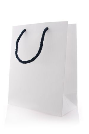 Isolated white shopping bag with blue handles  Stock Photo