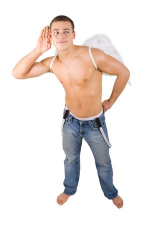 Cupid boy with angel wings on isolated background Stock Photo