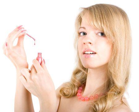 sexy blonde girl: Młoda sexy blonde girl with Nail Polish Zdjęcie Seryjne