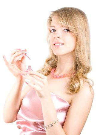 Jeune fille blonde dans une robe rose Banque d'images