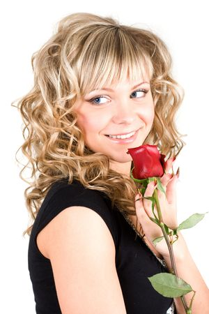 Close-up of the young blond girl face with a rose Stock Photo - 2898227