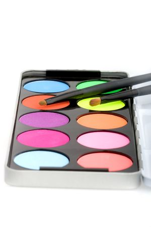 Eyeshadow pallete of ten colors on isolated background Stock Photo - 3180354
