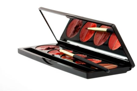 pallette: Set of lip glosses in pallette with a mirror Stock Photo