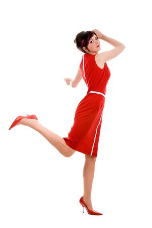 Running femme d'affaires sexy sur talons hauts