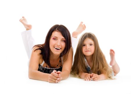 Happy young mother and daughter on isolated background